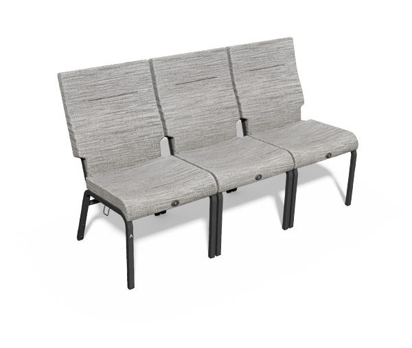 Vera Stacker Chair by Series Seating, Chair section is single seat with no armrest and beige upholstery